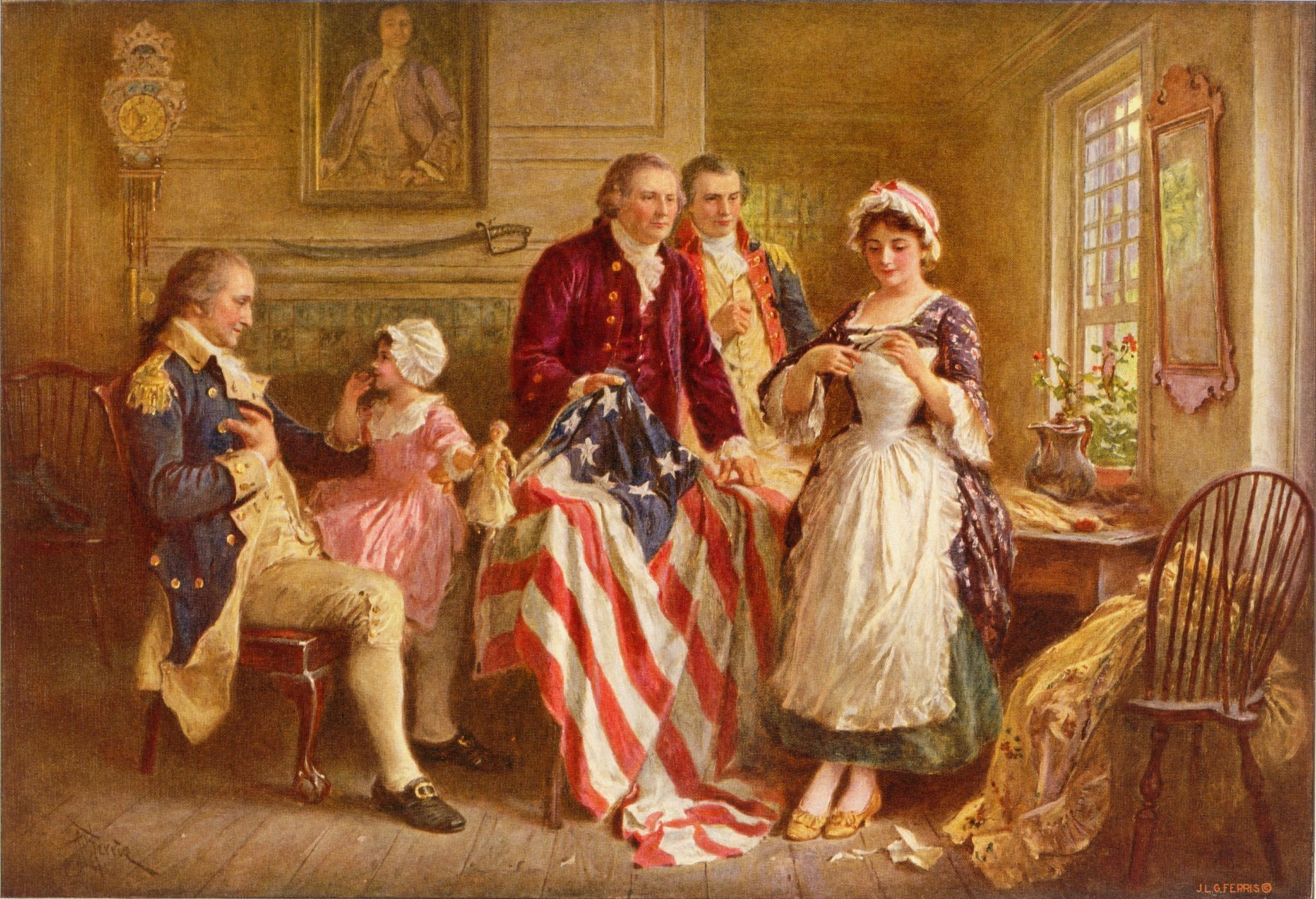Betsy Ross 1777, a ca. 1920 depiction by artist Jean Leon Gerome Ferris of Ross showing Gen. George Washington (seated, left), Robert Morris and George Ross how she cut the revised five-pointed stars for the flag.